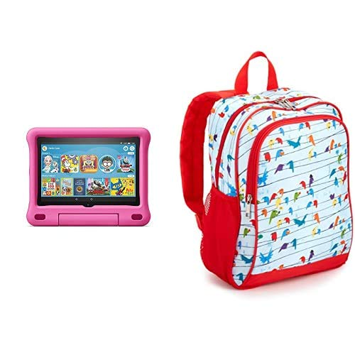 Fire HD 8 Kids Tablet 32GB Pink with Made for Amazon Kids Tablet Backpack, Birds