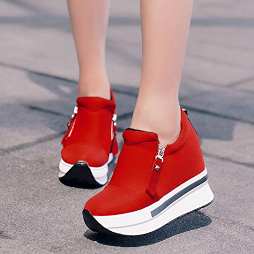 Chaussures Plateformes Bottes Lgres La Baskets Bovake Mode On Compenses Gym Chaussures Pied Unisexe De Fitness Jogging Course Rouges Plateforme Bottines Casual Slip Sneakers Sport IvqvBw