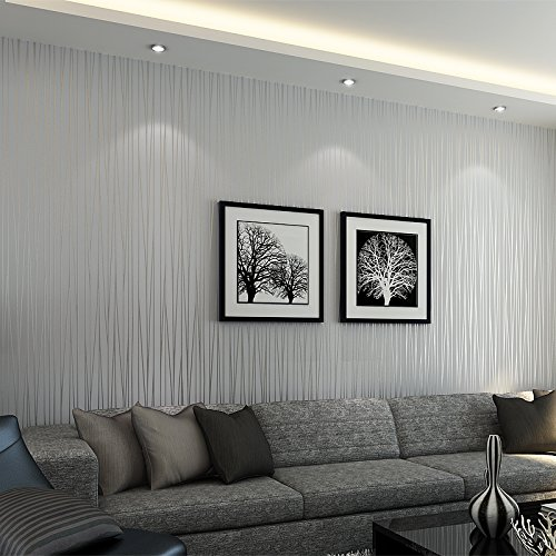 Wallpaper Modern Minimalist Luxury Gorgeous Bloss Wall Covering Paper Decoration Stripe Wall Paper for Home Hotel Office Metallic Silver Grey 1.7 ft x 32.8 ft