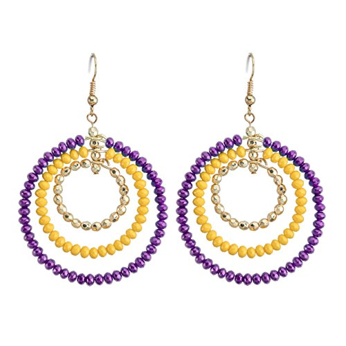 Occasionally Made Triple Hoop Earring, Purple/Yellow