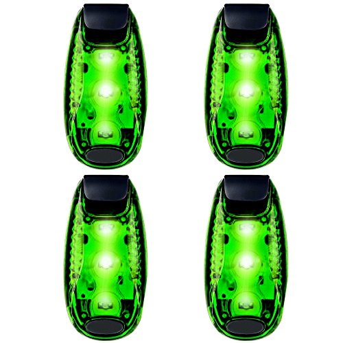 Price comparison product image 3 Modes LED Safety Lights 4 Packs Clip on Strobe Running Cycling Dog Collar Bike Tail Warning Light High Visibility Accessories for Reflective Gear (green)