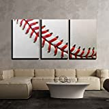 "wall26 - 3 Piece Canvas Wall Art - Baseball detail - Modern Home Decor Stretched and Framed Ready to Hang - 24""x36""x3 Panels"