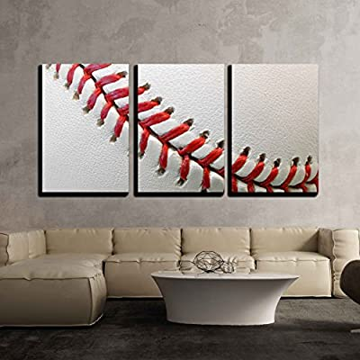3 Piece Canvas Wall Art - Baseball Detail - Modern Home Art Stretched and Framed Ready to Hang - 16