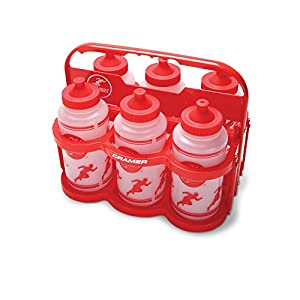 Cramer Collapsible Plastic Water Bottle Carrier, Comes With (6) One Quart, Wide Mouth, BPA-Free Squeeze Water Bottles with Leak Proof Push/Pull Cap, for Team Sports, Volleyball, Basketball, Soccer