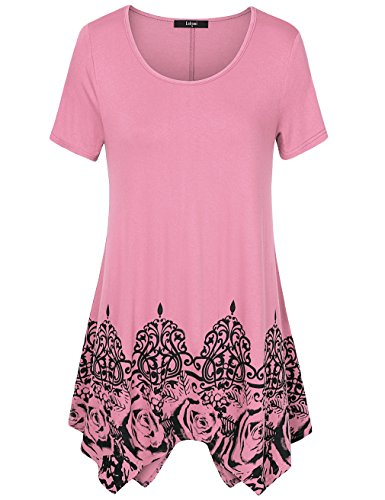 Laksmi Womens Printed Short Sleeve Scoop Neck Asymmetrical Hem A Line Casual Flow Tunic Top Shirts (XXX-Large, Dark Pink) (Pink Printed Tunic)