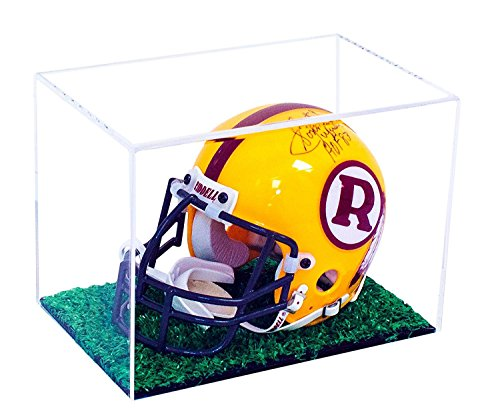 Versatile Deluxe Clear Acrylic Display Case - Small Rectangle Box with Turf Bottom 8.25