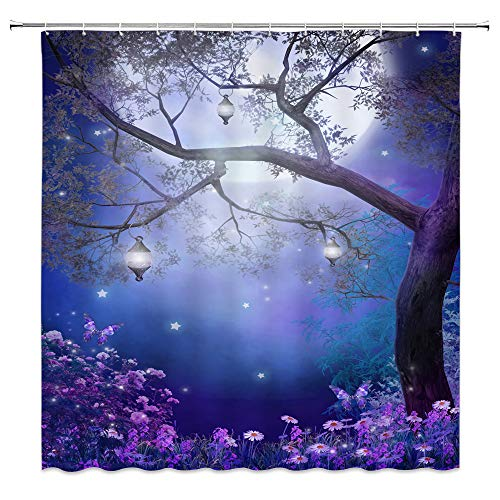 AMNYSF Fantasy Fairy Forest Shower Curtain Colorful Flower Butterfly Tree Lanterns Moon Nature Night Scenery Foggy Wonderland Decor Fabric Bathroom Curtains,Waterproof Polyester Hooks 70x70 Inch]()