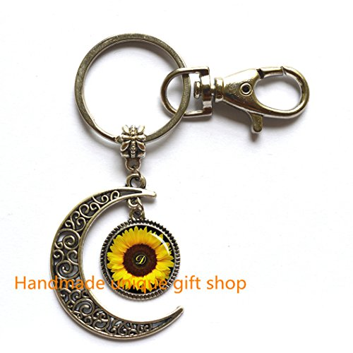 Fashion Moon Keychain,Sunflower Moon Key ring , Yellow Sunflower Moon Keychain , sunflower jewelry ,spring jewelry, yellow flower gift idea for friends , family