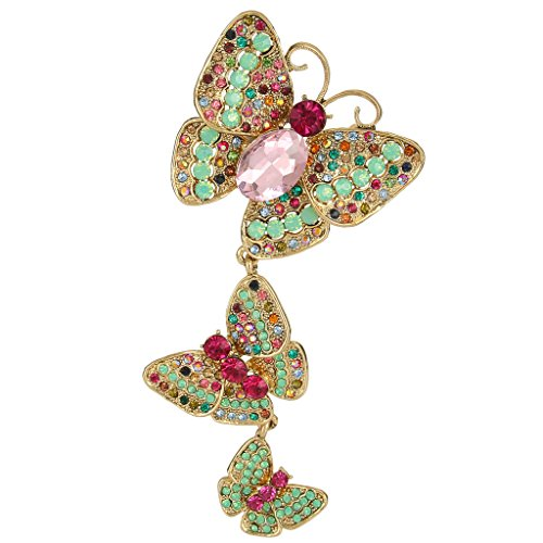 EVER FAITH Women's Austrian Crystal 3 Butterflies Insect 4.8 Inch Pendant Brooch Multicolor Gold-Tone (Brooch 3 Stone)