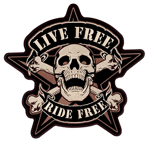 Hot Leathers, LIVE FREE RIDE FREE, With 5 Pointed Star - Iron-On / Saw-On, Rayon SKULL BIKER PATCH - 11
