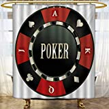 lacencn Poker Tournament,Shower Curtains Waterproof,Casino Chip with Poker Word in Center Rich Icon Card Suits Print,Fabric Bathroom Decor Set with Hooks,Vermilion Army Green,Size:W108 x L72 inch