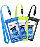 #10: Mpow Waterproof Case, New Type PVC Waterproof Phone Case, Universal Dry Bag for iPhone8/8 Plus/7/7 Plus/ Galaxy/ Google Pixel/ LG/ HTC  (3-Pack Black, Green, Blue)