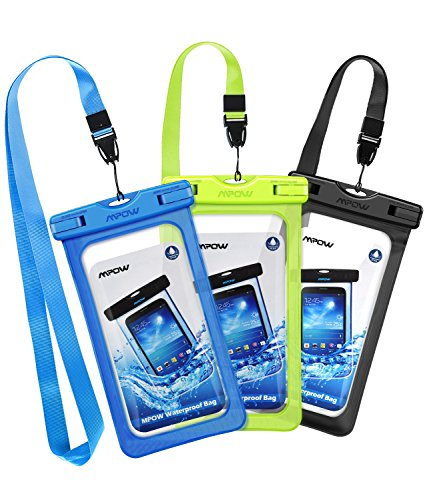 , New Type PVC Waterproof Phone Case, Universal Dry Bag for iPhone8/8 Plus/7/7 Plus/ Galaxy/ Google Pixel/ LG/ HTC  (3-Pack Black, Green, Blue) (Google Phone Blue Snap)