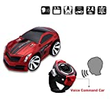 Floureon Rechargeable Voice Control Car, Voice Command by Smart Watch Creative Remote Control RC Car (Red)