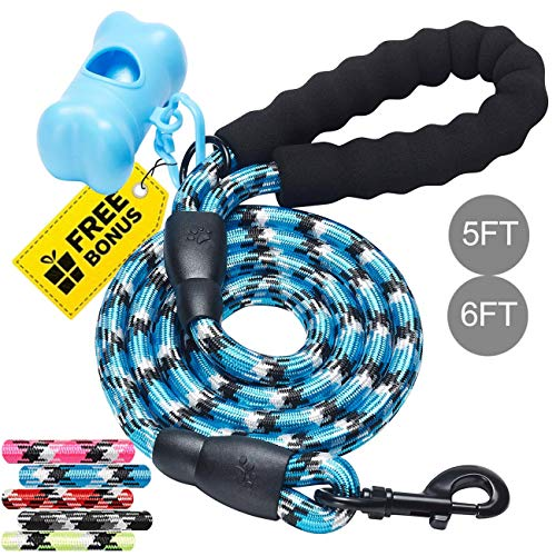 (tobeDRI Heavy Duty Dog Leash with Foam Handle 5 ft - Dog Training Walking Leashes for Medium Large Dogs with A Free Dog Poop Bag Holder (Blue))