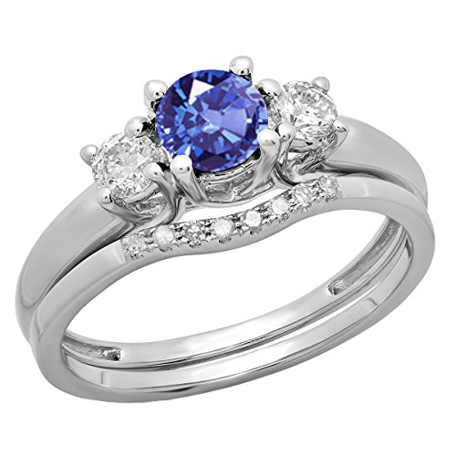 Dazzlingrock Collection 14K 5 MM Round Tanzanite & Diamond Bridal 3 Stone Engagement Ring Set, White Gold, Size - Ring 3 Stone Tanzanite