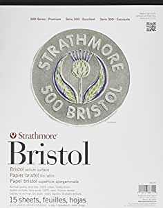 "Strathmore 500 Series Bristol, 2-Ply Vellum Surface, 11""x14"" Tape Bound, 15 Sheets"