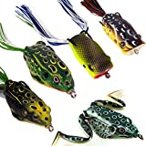 Huishang Fishing Lure Set with Tackle Box Including Plastic Soft Lures Frog,Topwater Frog Lure Set for Bass Snakehead Saltwater Freshwater Fishing Lures Accessories(Pack of 5) For Sale