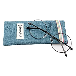 SOOLALA Cool Retro Round Metal Frame Spring Hinged Reading Glasses for men and Women, Black, +0.5