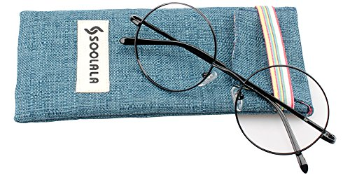 SOOLALA Cool Retro Round Metal Frame Spring Hinged Reading Glasses for men and Women, Black, - Female Shape Face Suit Round To Glasses