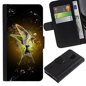 KLONGSHOP / Tirón de la caja Cartera de cuero con ranuras para tarjetas - Hummingbird Nature Yellow Wings Flight - Samsung Galaxy S5 V SM-G900