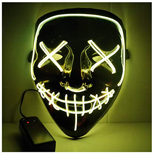 GLBUY Glow Scary Halloween Mask LED Light Up Purge Masks Party Cosplay Festival Costume El Wire Mask(Yellow)