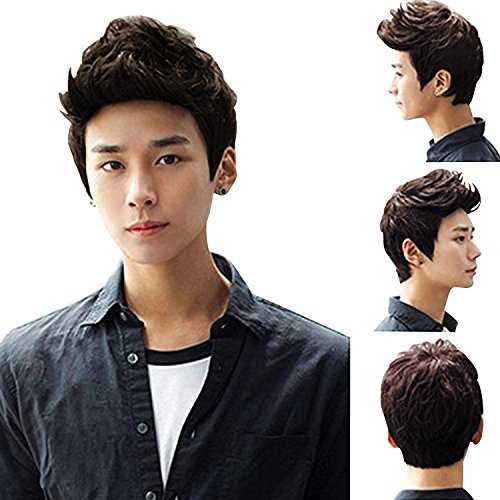 Brown Short Wig,Acecharming Men Fashion Synthetic Quiff Hair Wigs For Daily Use with -