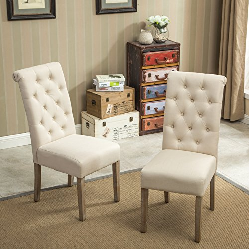 Set Of 2 Accent Kitchen Dining Chair Leather Wood Tufted: Roundhill Furniture Habit Solid Wood Tufted Parsons Dining