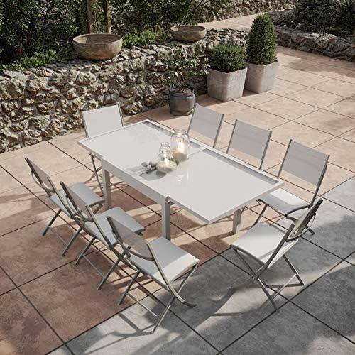 Bora - Mesa de jardín Extensible de Aluminio y Cristal de 90 x 180 cm + 8 sillas Plegables textileno, Color Gris Plateado: Amazon.es: Jardín