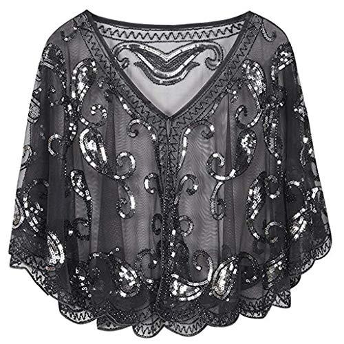 - Women's 1920s Shawl -Vovomay Beaded Sequin Deco Evening Cape Bolero Flapper Cover up (Black)
