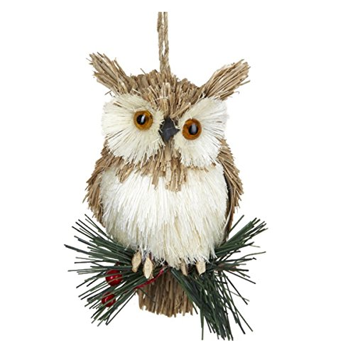 Kurt Adler Natural Hanging Owl on Sprig Christmas Ornament