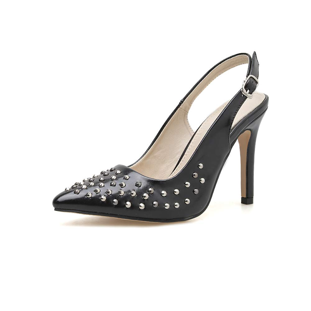 Rivet Pointed Shallow Mouth Hollow Buckle Black Temperament Single Shoes FengJingYuan Womens high Heels