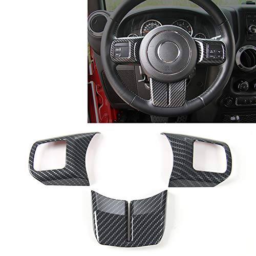 JeCar Interior Steering Wheel Decoration Trim Kits For Jeep Wrangler 2011-2017 JK Unlimited Patriot Compass & Grand Cherokee 2011-2013 (Carbon fiber texture) (Jeep Wrangler Interior Trim)