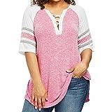 Plus Size Top,Toimoth Women Casual Bandage Patchwork T-Shirt Blouse(Hot Pink,L)