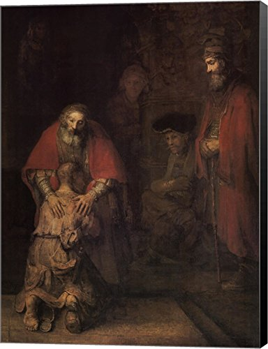 (The Return of The Prodigal Son by Rembrandt Van Rijn Canvas Art Wall Picture, Museum Wrapped with Black Sides, 21 x 28 inches)