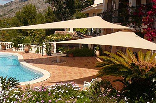 Didaoffle 20'x20'x20' Triangle Pool Shade, Backyard Sun Shade Sail in Beige - Permeable UV Block Shade Cloth (3 Years Warranty) - Sun Shade Sail for Patios, Swimming Pool, Driveways (Backyard Shade)