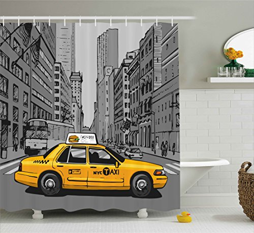 American Shower Curtain by Ambesonne, New York City Metropolitan Buildings and Taxi Cartoon Sketchy Image, Fabric Bathroom Decor Set with Hooks, 70 Inches, Charcoal Grey and Yellow