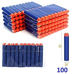 100 pcs Soft Foam Darts Bullet for Nerf N-strike Elite Series Blasters Toy Gun 7.2 cm Refill (Blue)