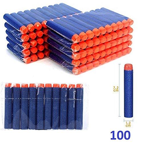 100 pcs Soft Foam Darts Bullet for Nerf N-strike Elite Series Blasters Toy Gun 7.2 cm Refill (Hungry Hippo Costumes)