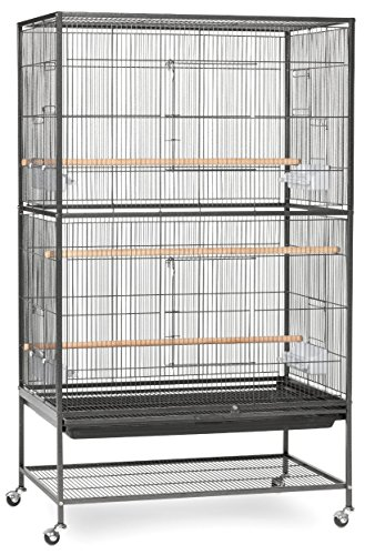 Extra Large Wrought Iron Flight Multiple Parakeets, Canaries, Finches, Sugar Glider Bird Cage 1/2-Inch Wire Spacing With Rolling Stand *Black Vein*