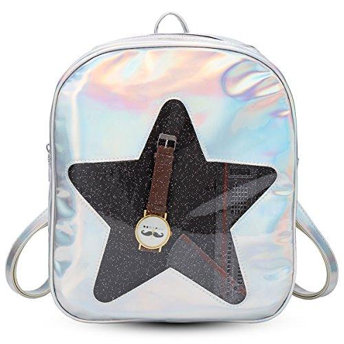 Silvery Star - xhorizon FL1 Girls Hologram Laser Backpack Love Heart Star Daypack Rucksack Shoulder Bag (Silvery Star Design)