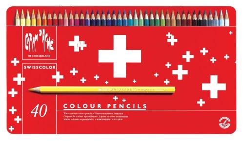 CREATIVE ART MATERIALS Swisscolor Pencils Metal Box, Set of 40 -