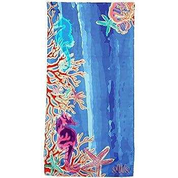 Personalized Seahorse Cobalt Blue Brazilian Cabana Beach Towels
