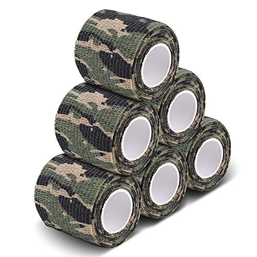 AIRSSON 5 Roll Camouflage Tape Cling Scope Wrap Military Camo Stretch Bandage for Gun Rifle Shotgun Camping Hunting 2