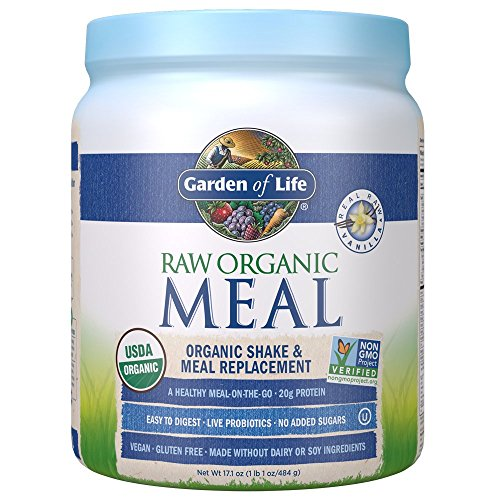 (Garden of Life Meal Replacement Vanilla Powder, 14 Servings, Organic Raw Plant Based Protein Powder, Vegan, Gluten-Free)