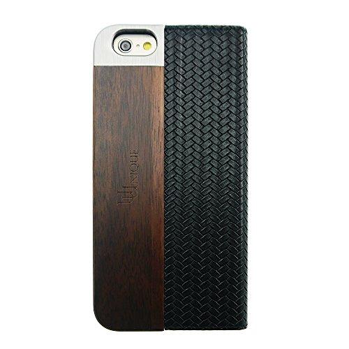 Uunique neue Mode-Gewebe Leder Folio-Tasche für iPhone, 6s, Schwarz
