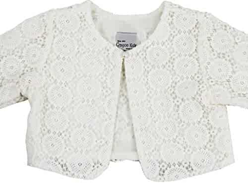cc1a76c45 Little Girls Swirl Lace Pearl Sweater Flower Girl Bolero Jacket Cover