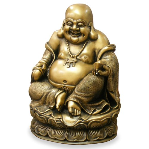 China Furniture Online Bronze Laughing Buddha Statue, Seated Happy Buddha of Prosperity and Wealth Figurine (Seated Buddha Statue)