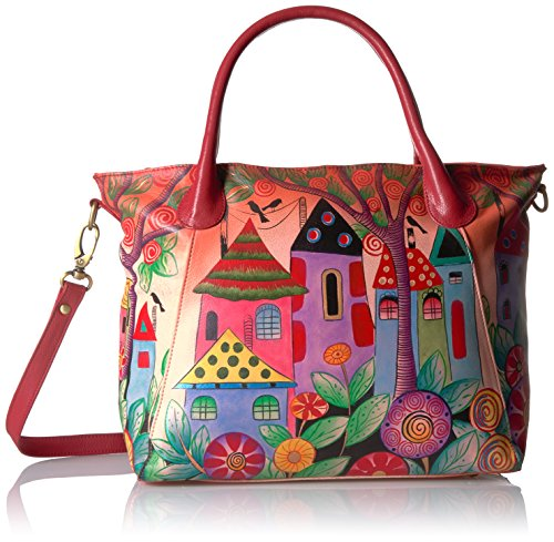 Painted Village - Anna by Anuschka Handpainted Leather Slouch Tote Bag-Village of Dream