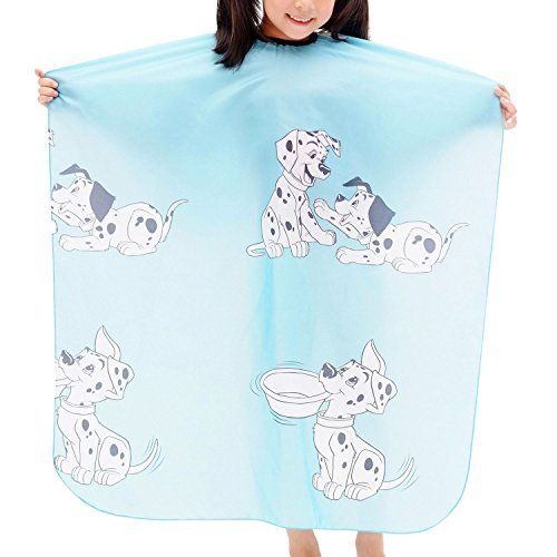 Colorfulife Child Hair Cutting Waterproof Cape Barber Kids Hair Styling Cloth with Snap Closure Professional Home Salon Hairdressing Wrap Cartoon Dalmatian Pattern B021 (Blue Dalmatian)